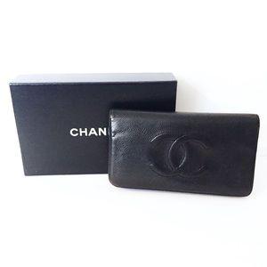 Chanel black caviar leather long bifold wallet